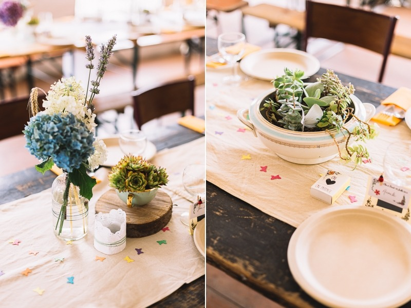 Décoration de table succulentes mariage retro DIY origami